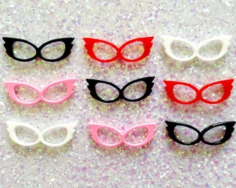 Retro Cat Eye Glasses Frames Resin Flatback Cabochons - 44mm - 4 Colors - Decoden - Kitsch - Jewelry - DIY - Charm