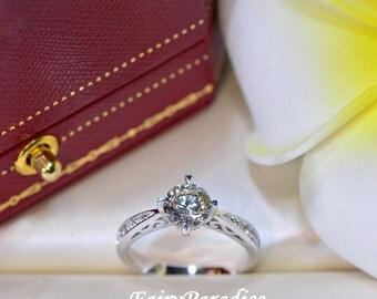1 ct Edwardian Engagement Ring / Filigree Bridal Ring, 1 Carat Round Man Made Diamond Promise Rings, Pave band, Free Gift box(FairyParadise)