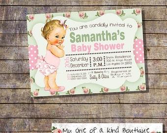 Baby Shower invitation shower party invite shabby flower baby vintage invitation digital printable invitation 13116
