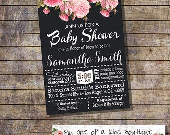 Baby shower invitation country chic chalkboard roses flowers shabby pink baby shower digital printable invitation you print 13715