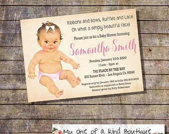 Baby Shower invitation shower party invite pink baby girl vintage digital printable invitation 13786