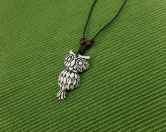 White Owl Necklace - Owl Jewelry - White Owl Pendant with Adjustable Black Cord