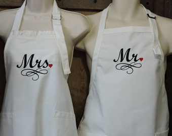 Bridal Shower Gift Aprons Mr. & Mrs.Cooking Baking  Wedding Gift, Cutting the Cake, Reception, Holiday Aprons