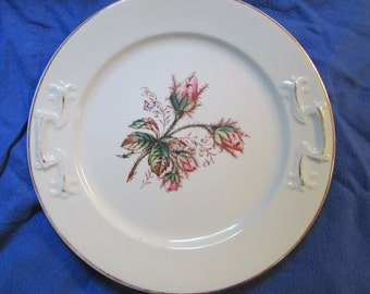 Antique Moss Rose Ironstone 2 Etruria Pottery Ott & Brewer Dinner Plates White with Polychrome Decoration Late 1800's