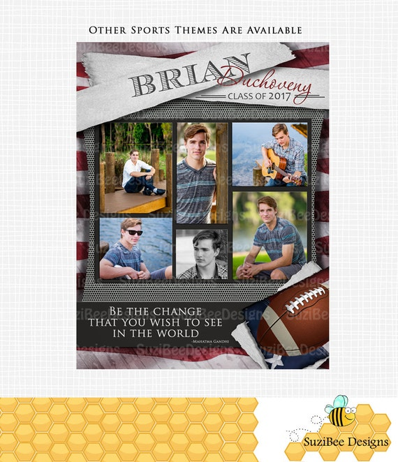 Senior yearbook ad template for High school football program template