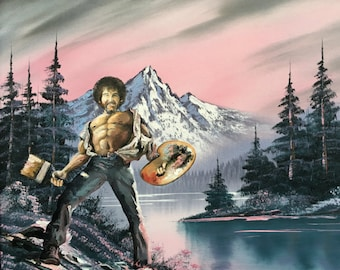 Bob Ross Parody, 'Epically Happy'- Limited Edition Print or Poster-Funny Bob Ross Poster, Bob Ross Happy Little Trees Funny Parody Painting