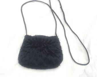 Vintage Black Beaded bag Black Beaded Shoulder Bag, Black Vintage Crossbody bag or Shoulder Purse, Embellished Lady-like handbag Seed Beads