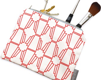 Geo Red Zip Purse - coin purse - pouch purse - geometric purse - red pouch - make up bag - evening bag - patterned purse