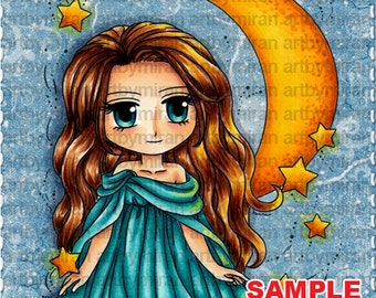 digital stamp moonstar maiden 283 digi stamp coloring page printable line art for card and craft supply