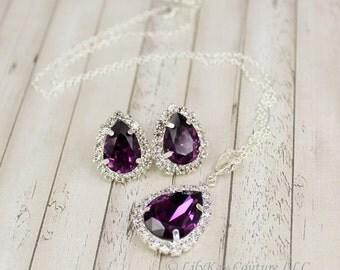 Purple Earring Eggplant Bridesmaid Amethyst Earring Sangria Bridesmaid Jewelry Grape Bridesmaid Jewelry Purple Bridal Jewelry Aubergine
