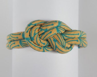 Knotted Fabric Cord Bracelet. Turquoise Bracelet. Summer Accessory. Summer Bracelet. Made in the UK. Made in Britain. Lobster Clasp Bracelet