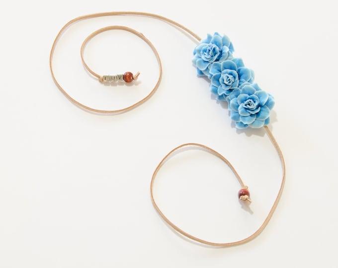 Sky Blue Rose Side Flower Crown