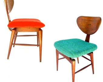 Early Mid-Century Danish Teak Chairs || Orange or Teal Upholstery || 2 Available