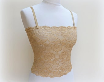 Gold floral lace tank top. Elastic lace bralette. Lace lingerie. Gold lingerie. Gold lace camisole.