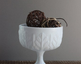 Vintage Oak Leaf Milk Glass Footed Compote