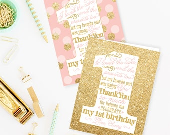 First Birthday Thank You Card - Personalized Custom 1st Birthday Thank You Notes - Pink Gold Glitter - Professionally Printed Folded Cards