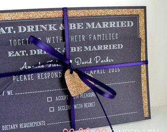 Modern Glitter Simple Wedding Invitation Set - Handmade - White Print - Sample