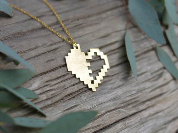 Broken Pixels: Broken Pixel Heart Pure Brass Pendant Laser Cut Brass