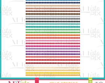 Circle Border Clipart, Border Images, Borders, Circles, Rainbow Colors, Instant Download,