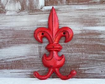 Fleur de lis Decor, Red Wall hook, Fleur de lis hook, Bathroom Wall Decor, Decorative Hook, French Country Decor Towel Hook Double Key Hook