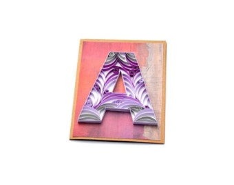 Quilling Letter A Quilled Card Paper Quilling Quilled Monogram Quilled Letter Birthday Card Quilled Typography Initial Card Room Decor