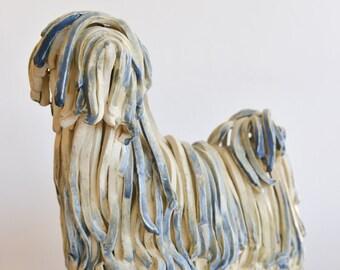 Rare Ceramic Hungarian Komondor Sculpture signed Almazetto '69