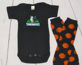 Minnesota Timberwolves Onesie and Legwarmers set! Baby Boy Basketball Set