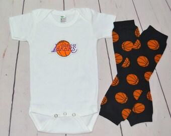 Los Angeles Lakers Onesie and Legwarmers set! Baby Boy Basketball Set