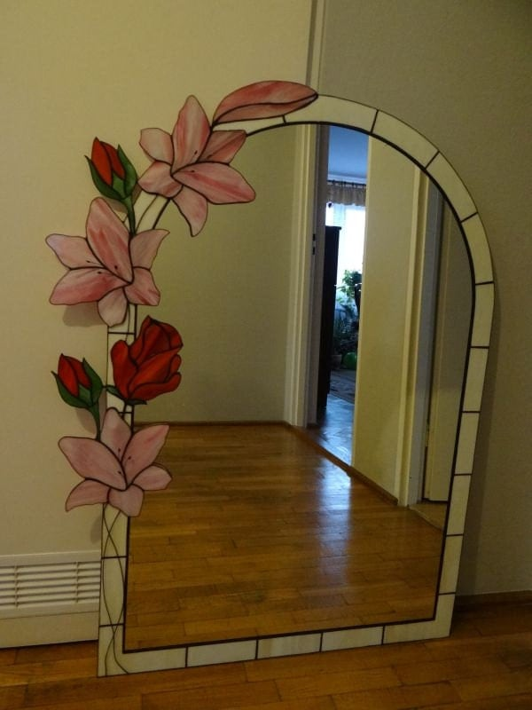 Lily Amp Rose Tiffany Style Stained Glass Mirror
