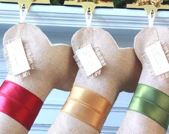 Personalized Christmas Stocking, Unique Dog Bone Burlap Stocking, Gifts For Dogs, Simple, Elegant Satin Stockings, Handmade with Love!