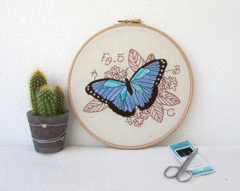 Butterfly hand embroidery art, Blue morpho, insect embroidery hoop art, insect wall art, entomology gift for scientist handmade in the UK