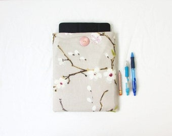 Blossom IPad cover, Christmas gift, 10 inch tablet cover, Samsung galaxy tab 10, padded Ipad case, fabric Ipad sleeve, handmade in the UK