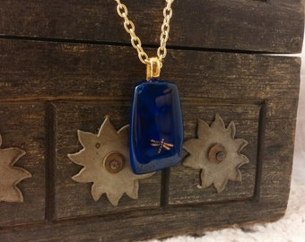 Cobalt Dragonfly Fused Glass Pendant