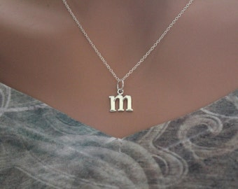 Sterling Silver Lowercase M Initial Charm Necklace, M Initial Necklace, Large M Letter Necklace, M Necklace, Typewriter M Initial Necklace
