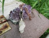 Dravite & Snow Fairy Quartz // Wire Wrapped Necklace // Brown Hemp