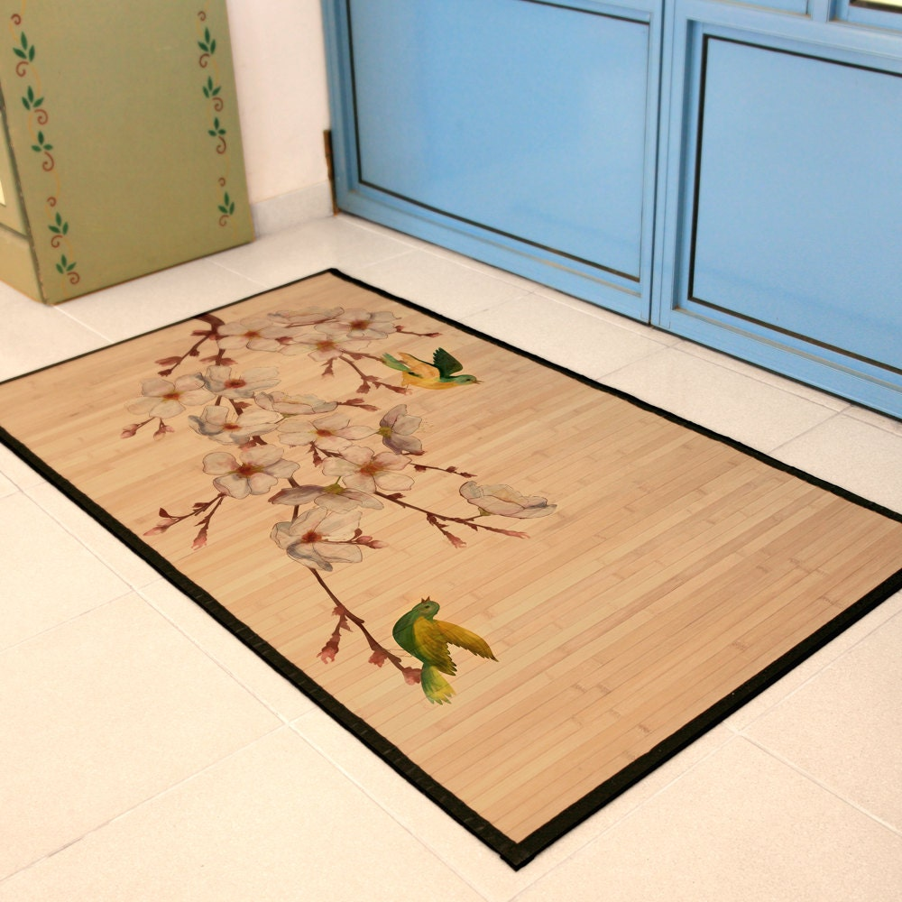 Printed Bamboo Mat Area Rug Oriental Print Of Bird On