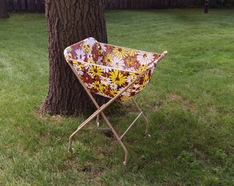 SALE Vintage Rolling Folding Laundry Basket Hamper with Brown Yellow and White Flowered Fabric