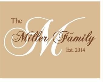Family Room, Last Name, Vinyl Lettering, Vinyl Wall Art, Family Name Vinyl Wall Decal, Establised Date