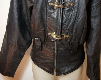 FREE  SHIPPING   1980 Woman Motorcycle Leather Jacket