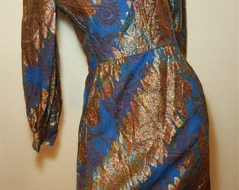 FREE  SHIPPING  Vintage Psychedelic Mod Metallic Dress