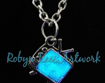 Tiny Glow In The Dark Blue or White Television Necklace with Silver TV on Crossed Chain