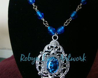 Blue Abalone Shell Necklace with Silver Filigree Setting and Blue Lampwork Beads