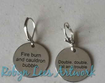Double Double Toil and Trouble & Fire Burn and Cauldron Bubble Engraved Stainless Steel Disc Earrings with Plain or Scalloped Leverbacks
