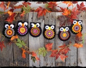 Primitive Halloween Owl Crochet Ornaments, Ornies, Autumn Fall Decor, Party Favor, Shelf Tuck, Bowl Filler, OFG FAAP