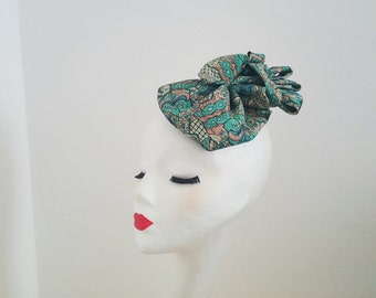 SALE 20% Cappellino Fascinator Hat 1940's 1950's Pin Up Rockabilly Vintage Inspired Repro Swing Tie