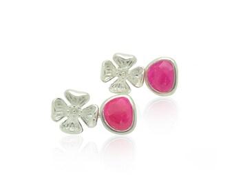 Fuchsia pink and silver wedding flower earrings, Silver flower bridal earrings, Pink silver wedding jewelry, October birthstone jewellery