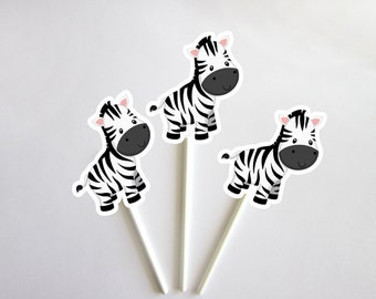 Zebra Cupcake Toppers, Jungle Cupcake Toppers