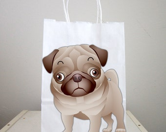 Puppy Goody Bags, Dog Goody Bags, Puppy Favor Bags, Dog Favor Bags - Pug Goody Bags