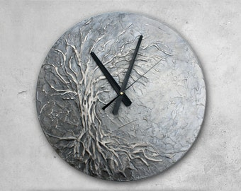 Original Painting Large Wall Clock, Tree of Life Home Decor, Silver wall Clock Modern WALL CLOCK, Unique wall clock,  Tree of Life Painting