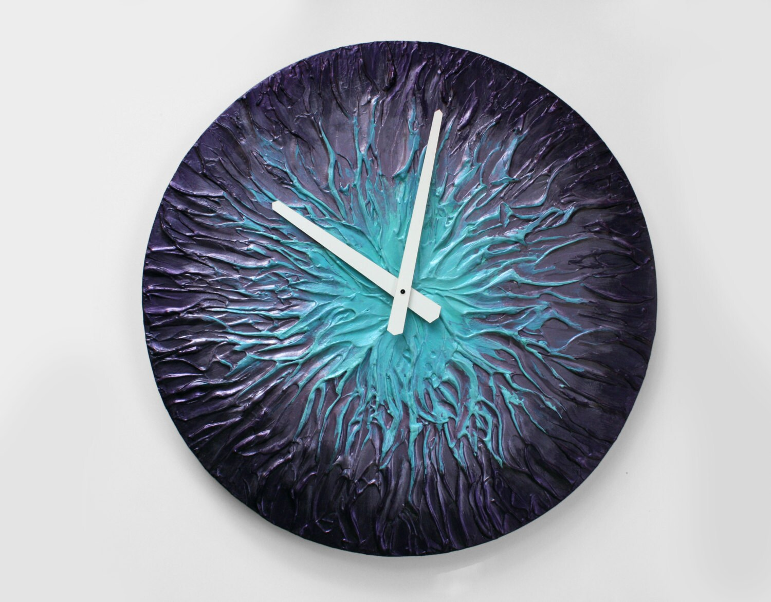 Original Painting Large Wall Clock Unique Wall Clock Purple